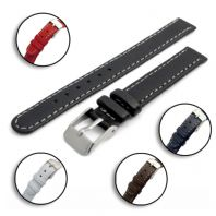 Leather Watch Strap Contrast Stitching 12mm 14mm Choice of Colours C001